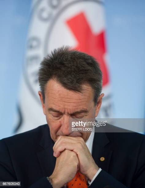 The President of the International Committee of the Red Cross Peter Maurer attends a news conference to launch the 'Humanitarian appeal of Berlin...