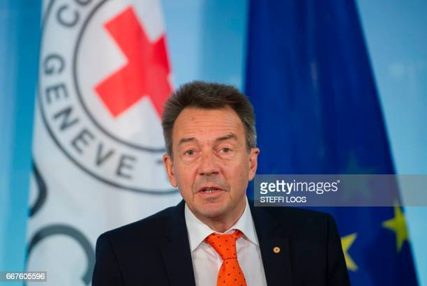 The President of the International Committee of the Red Cross Peter Maurer speaks during a news conference to launch the 'Humanitarian appeal of...