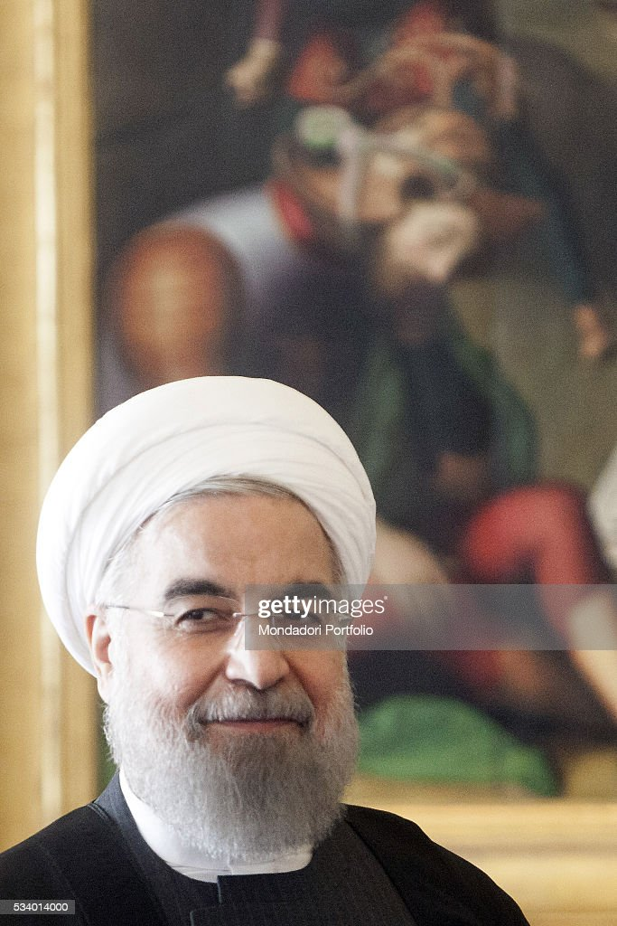 The President of the Islamic Republic of Iran Hassan Rouhani during the audience with Pope Francis in the Private Library of the Apostolic Palace...