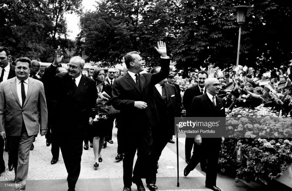 The President of the Italian Republic Giuseppe Saragat, the German mayor of the city Willy Brandt (Herbert Frahm) and the Minister of Foreign Affairs of the Italian Republic Amintore Fanfani visiting West Berlin. Berlin, July 1965.