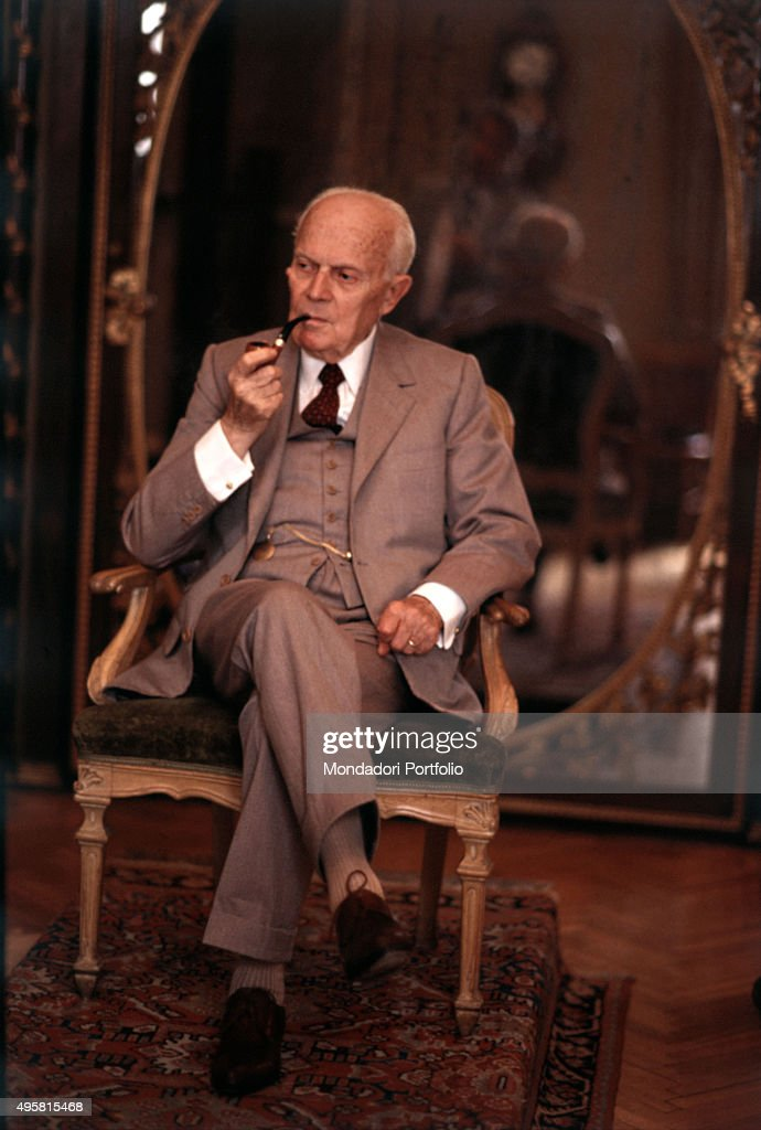 The President of the Italian Republic Sandro Pertini smoking pipe 1984