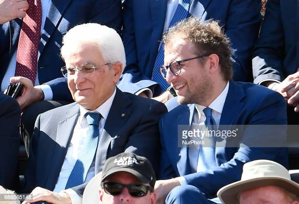 The president of the Italian republic Sergio Mattarela and the Minister of Sport Luca Lotti during the ATP Tennis Open final match between Alexander...
