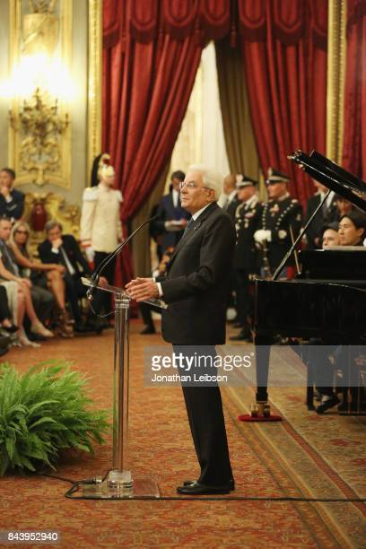 The President of the Italian Republic Sergio Mattarella attends the Tour and Welcome Drinks at Palazzo del Quirinale as part of the 2017 Celebrity...