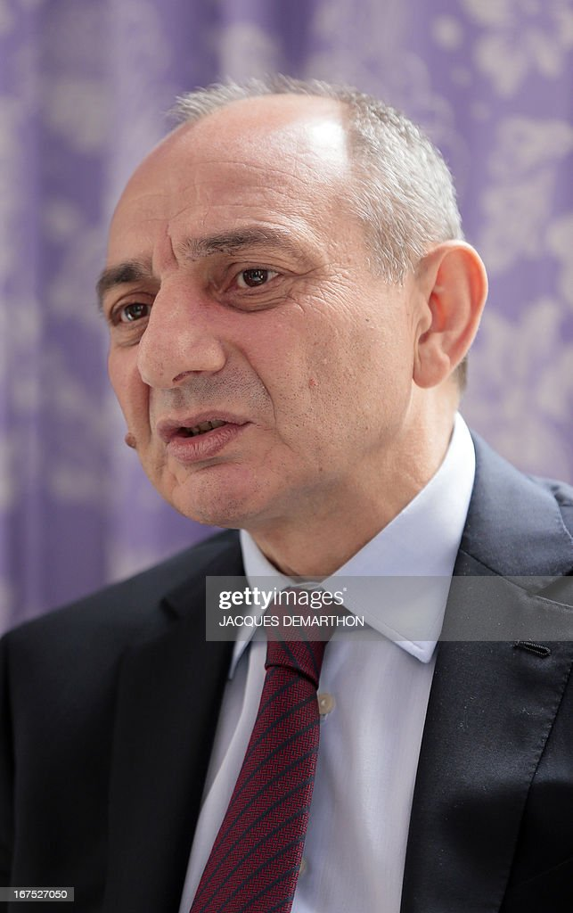 The president of the Nagorny Karabakh region's unrecognised government, Bako Sahakian, speaks during an interview on April 26, 2013 during his three-day visit in Paris. The international community must take Azerbaijan's threats of regaining the disputed region of Nagorny Karabakh seriously and condemn Baku's ongoing arms-buying spree, the breakaway territory's leader said Friday.