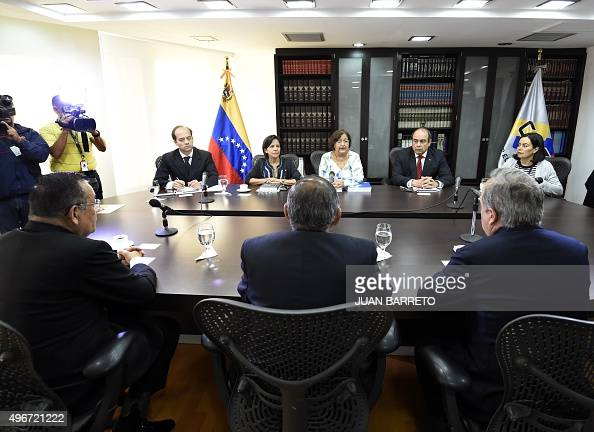 The president of the National Electoral Council of Venezuela Tibisay Lucena speaks during a meeting with members of the Latin American Council of...