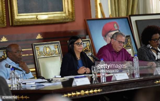 The president of the new Venezuelan Constituent Assembly Delcy Rodriguez its First VicePresident Aristobulo Isturiz and Second VicePresident Isaias...