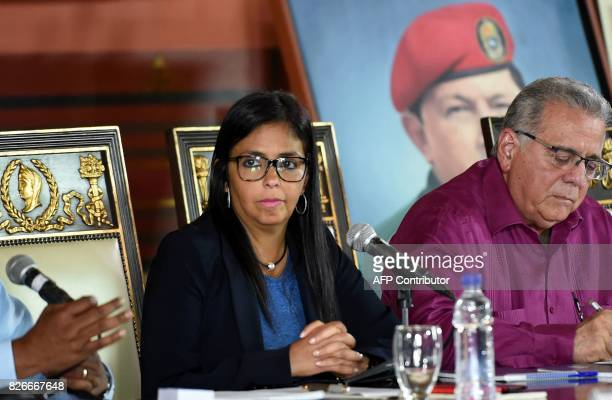 The president of the new Venezuelan Constituent Assembly Delcy Rodriguez sitting next to the assembly's Second VicePresident Isaias Rodriguez...
