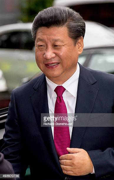The President of the People's Republic of China Xi Jinping arrives to tour the National Graphene Institute at Manchester University with the...