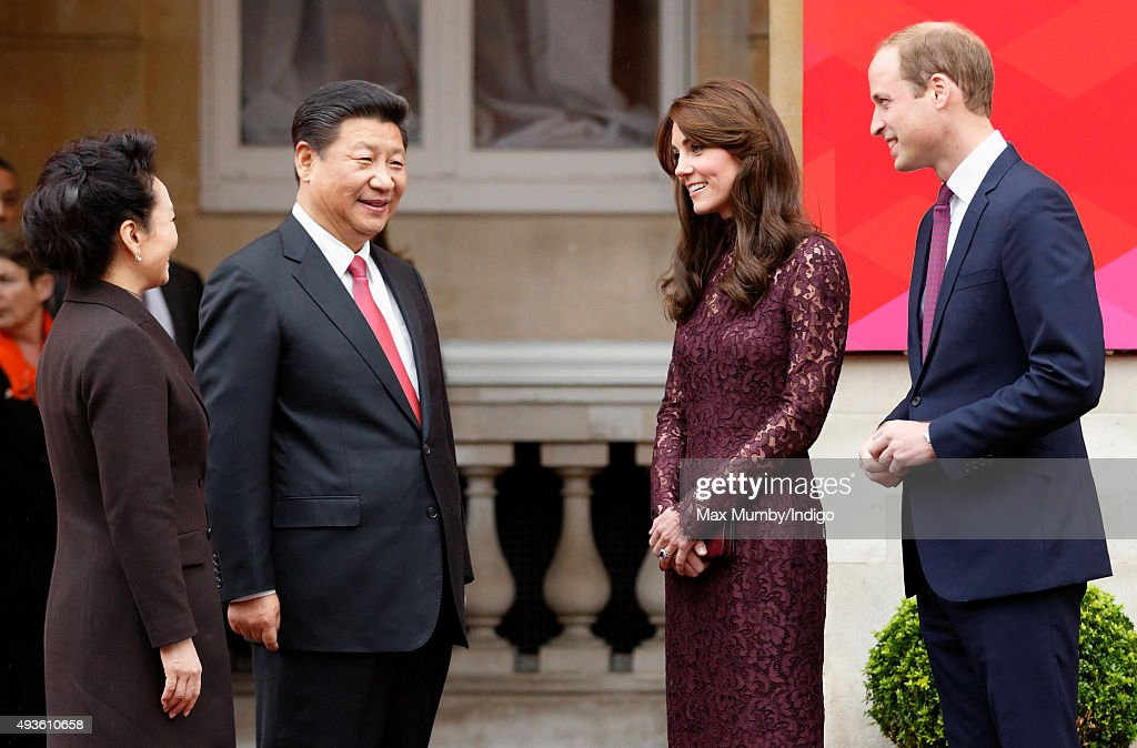 The President of the Peoples Republic of China Xi Jinping his wife Peng Liyuan Catherine Duchess of Cambridge and Prince William Duke of Cambridge...