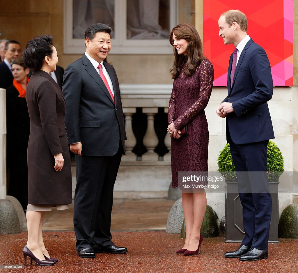 The President of the Peoples Republic of China, Xi Jinping, his wife Peng Liyuan, Catherine, Duchess of Cambridge and Prince William, Duke of Cambridge attend 'Creative Collaborations: UK & China' at Lancaster House on October 21, 2015 in London, England. The President of the Peoples Republic of China, Mr Xi Jinping and his wife, Madame Peng Liyuan, are paying a State Visit to the United Kingdom as guests of The Queen. They will stay at Buckingham Palace and undertake engagements in London and Manchester. The last state visit paid by a Chinese President to the UK was Hu Jintao in 2005.