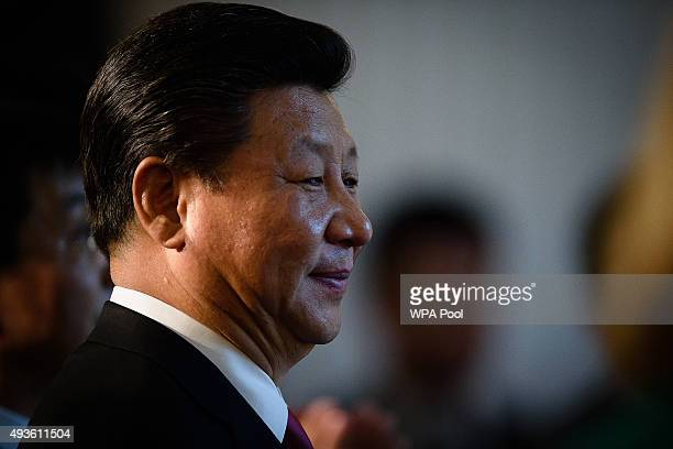 The President of the People's Republic of China Xi Jinping prepapres to address guests and delegates at the UKChina Business Summit in Mansion House...