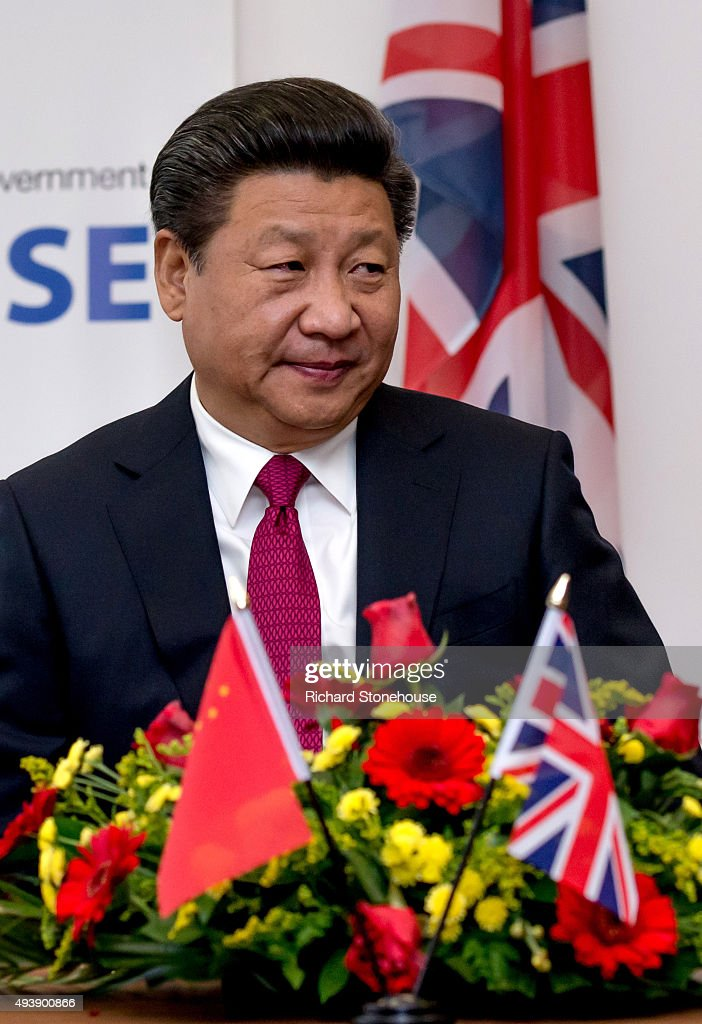The President of the People's Republic of China <a gi-track='captionPersonalityLinkClicked' href=/galleries/search?phrase=Xi+Jinping&family=editorial&specificpeople=2598986 ng-click='$event.stopPropagation()'>Xi Jinping</a> tours the National Graphene Institute at Manchester University with the Chancellor of the Exchequer George Osborne on October 23, 2015 in Manchester, England. After listening to a presentation from Dame Nancy Rothwell, the party toured the University Centre which leads the world in graphene research and is one of the most important centres for commercialising the one-atom-thick material.