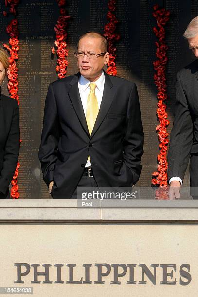 The President of the Philippines Benigno Aquino looks out from the Roll of Honour at the Australian War Memorial on October 24 2012 in Canberra...