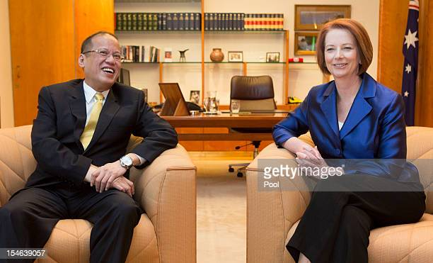 The President of the Philippines Benigno Aquino meets with the Prime Minister of Australia Julia Gillard in her office at Parliament House on October...