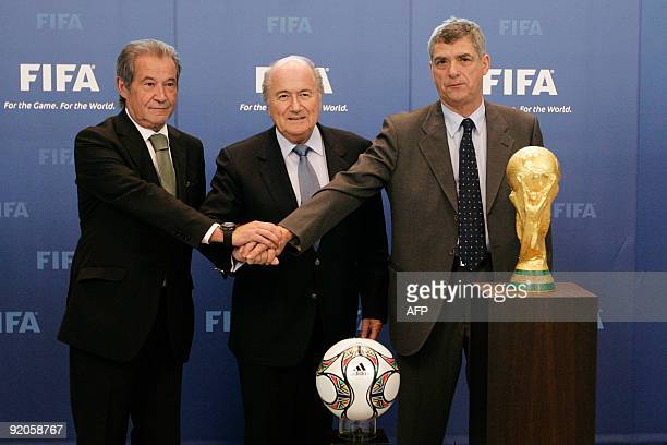 The president of the Portuguese Football Association Gilberto Madail FIFA President Joseph Blatter and the president of the Spanish Football...