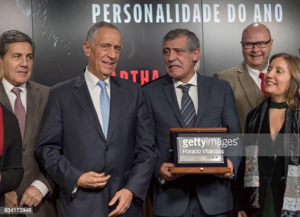 The president of the Portuguese Soccer Federation Fernando Soares Gomes da Silva Portuguese President Marcelo Rebelo de Sousa and the president of...