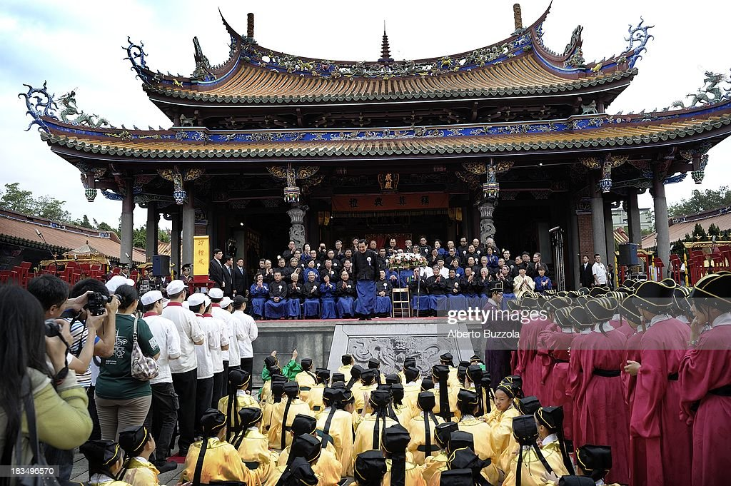 The President of the Republic of China, Ma Ying-jeou in Taiwan bows to the public before giving a speech at the end of Confucius 's 2563rd birthday celebration in the Taipei Confucius Temple. Confucius Birthday is also known in Taiwan and in the Chinese speaking world as Teacher's day..