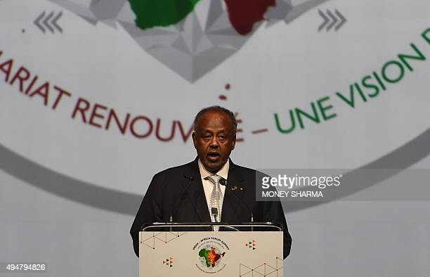 The President of the Republic of Djibouti Ismail Omar Guelleh addresses delegates during The IndiaAfrica Summit in New Delhi on October 29 2015...