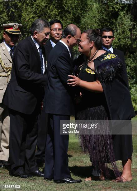 The President of the Republic of the Union of Myanmar His Excellency U Thein Sein is greeted with a hongi as he is welcomed at Government House on...