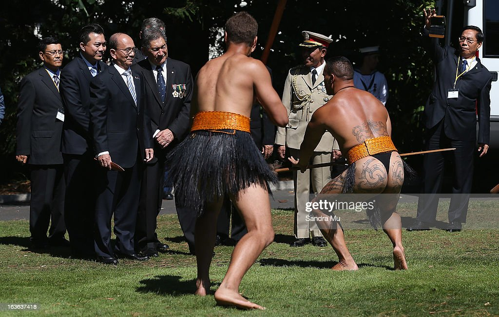 The President of the Republic of the Union of Myanmar, His Excellency U Thein Sein (C) is welcomed with a Maori Powhiri at Government House on March 14, 2013 in Auckland, New Zealand. President U Thein Sein will be in New Zealand for four days with most of his scheduled events centred around Auckland.
