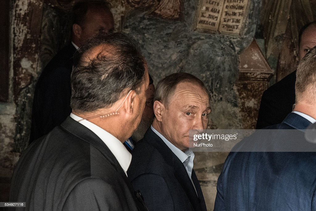 The President of the Russian Federation Vladimir Putin in Karyes, in the Mount Athos on 28 May, 2016.