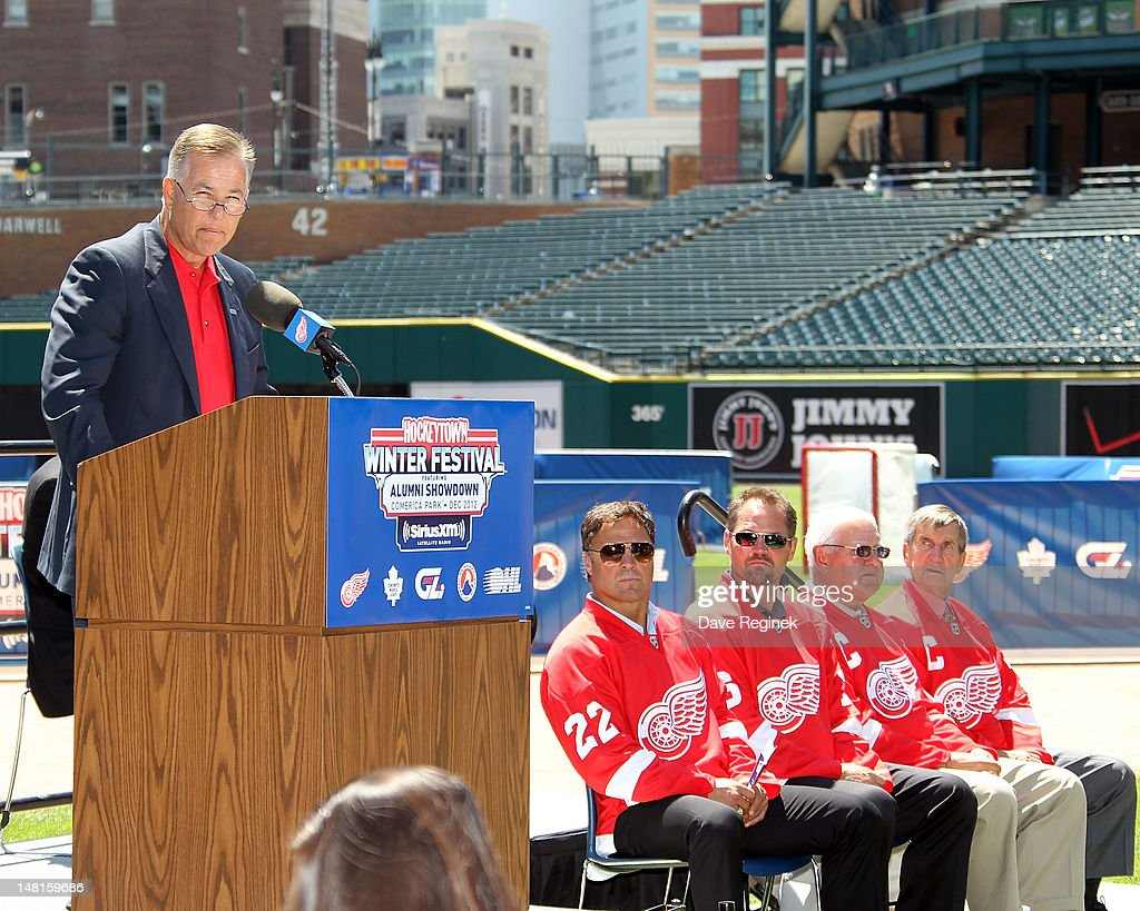 The President of the Saginaw Spirit and Executive Councel Member of the OHL, Craig Goslin talks to the meadia about the first ever outdoor OHL games during the NHL Winter Classic-Hockey Town Winter Festival press conference at Comerica Park on July 11, 2012 in Detroit, Michigan.