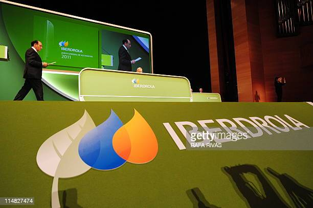 The president of the Spanish power group Iberdrola Jose Ignacio Sanchez Galan arrives to give a speech during Iberdrola's shareholders general...