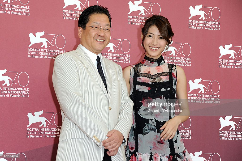 The president of the Studio Ghibli Koji Hoshino and the actress and singer Miori Takimoto attend 'Kaze Tachinu' Photocall during the 70th Venice International Film Festival at Palazzo del Casino on September 1, 2013 in Venice, Italy.