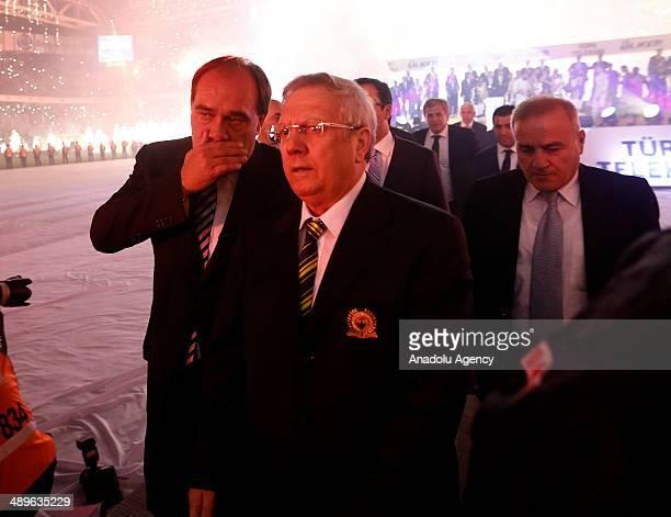 The President of the Turkish Football Federation Yildirim Demiroren and Fenerbahce's chairman Aziz Yildirim talk after the team being crowned Turkish...