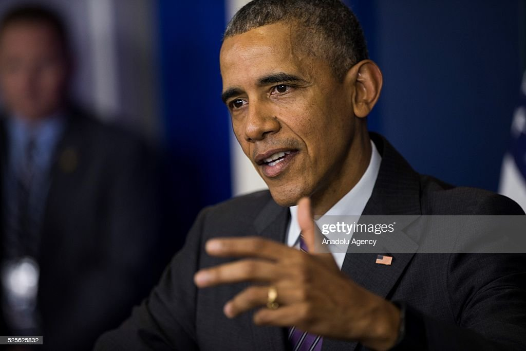 The President of the United States Barack Obama makes a surprise stop to answer questions from student journalists from colleges all over the United States in the Brady Press Briefing Room of the White House in Washington, USA on April 28, 2016.
