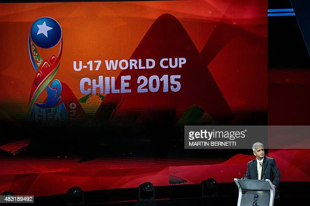 The president of the US National Professional Soccer Association Sunil Gulati speaks during the FIFA U17 World Cup 2015 draw ceremony in Santiago on...