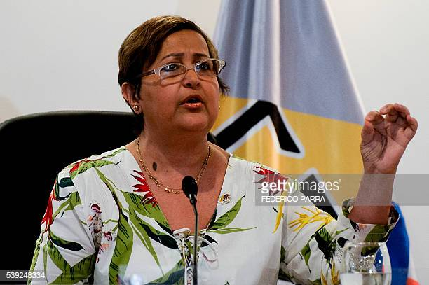 The president of the Venezuelan National Electoral Council Tibisay Lucena speaks during a press conference in Caracas on June 10 2016 Venezuelan...