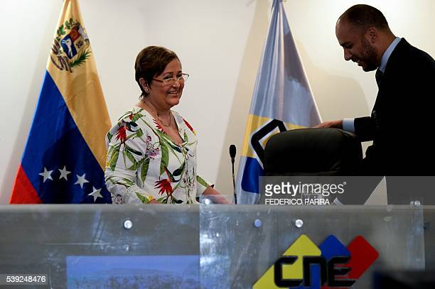 The president of the Venezuelan National Electoral Council Tibisay Lucena arrives to give a press conference in Caracas on June 10 2016 Venezuelan...
