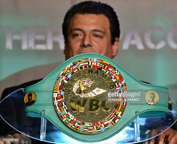 The president of the World Box Council Mauricio Sulaiman speaks on April 21 in Mexico City next to the belt made in Mexico that will be delivered to...