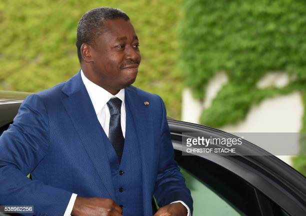 The President of Togo Faure Gnassingbe arrives for a meeting with the German Chancellor at the Chancellery in Berlin Germany on June 9 2016 / AFP /...