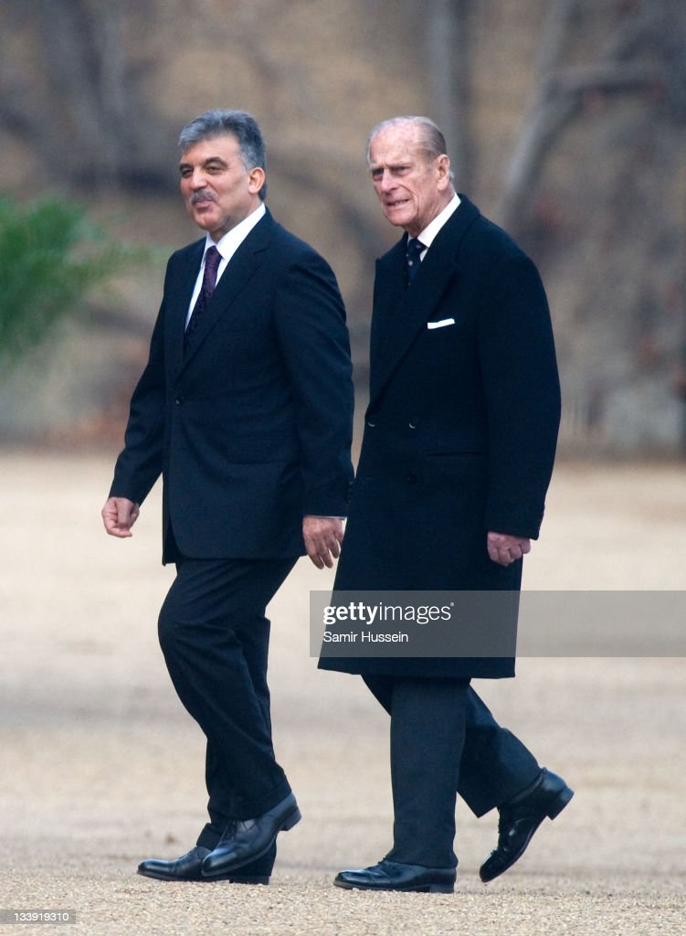 The President of Turkey <a gi-track='captionPersonalityLinkClicked' href=/galleries/search?phrase=Abdullah+Gul&family=editorial&specificpeople=539775 ng-click='$event.stopPropagation()'>Abdullah Gul</a> inspects the Guard of Honour with <a gi-track='captionPersonalityLinkClicked' href=/galleries/search?phrase=Prince+Philip&family=editorial&specificpeople=92394 ng-click='$event.stopPropagation()'>Prince Philip</a>, Duke of Edinburgh on Horse Guards Parade on November 22, 2011 in London, England. The President of Turkey is on a five day State visit to the UK.