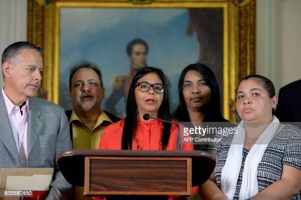 The president of Venezuela's Constituent Assembly Delcy Rodriguez offers a press conference after holding a meeting with the Truth Commission at the...