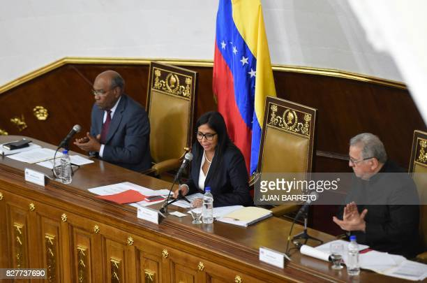 The president of Venezuela's Constituent Assembly Delcy Rodriguez first vice president Aristobulo Isturiz and second vice president Isaias Rodriguez...