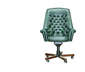 The president office chair from green leather. IsolatedThe president office chair from green leather. Isolated