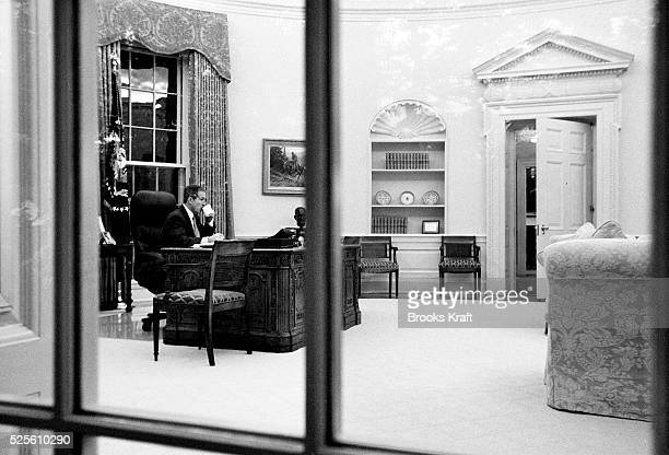 The President starts his day at 645am in the Oval Office were he works privately for an hour