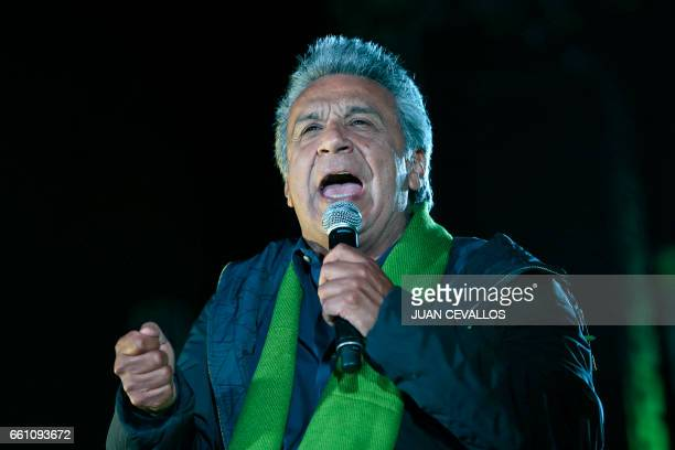 The presidential candidate for Ecuador's ruling Alianza Pais party Lenin Moreno gives a speech during his campaign closing rally in Quito on March 30...