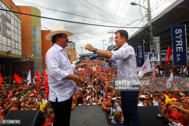 The presidential candidate for the Opposition Alliance Against the Dictatorship Salvador Nasralla greets Manuel Zelaya former President of Honduras...