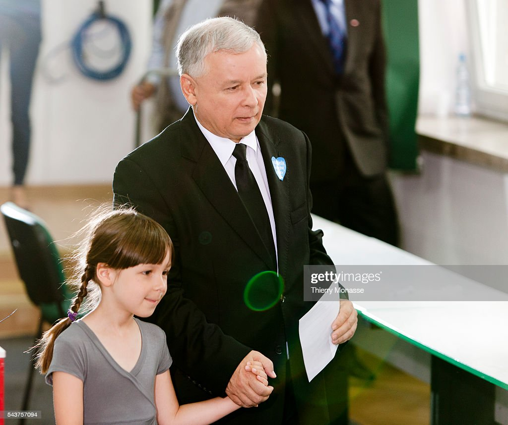 The Presidential Candidate for the Poland's Law and Justice Party Jaroslaw Aleksander Kaczynski and Ewa the granddaughter of late Polish President...