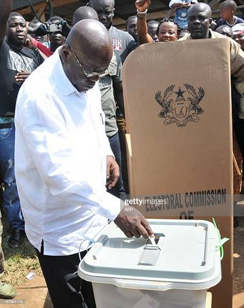 The presidential candidate of the opposition New Patriotic Party (NPP) Nana Akufo-Addo casts his ballot as he votes at the Asante-Achimagogo polling station on December 7, 2012. Ghana will be seeking to live up to its potential in the election on December 7, 2012 as an example of stable democracy in West Africa, an often turbulent region that has seen more than its share of military coups and rigged votes.