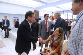 The presidential candidate of the opposition Partido Revolucionario Democratico Juan Carlos Navarro speaks with international observers who will...