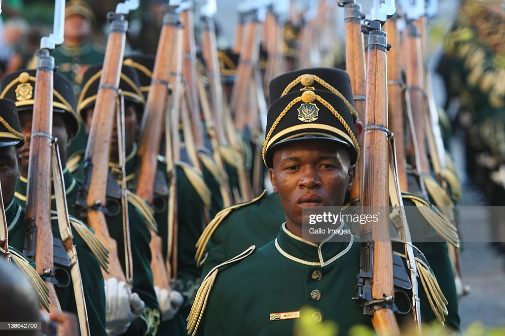 The presidential guard at the opening of Parliament in Cape Town, South Africa on 9 February 2012.Parliament was opened in the annual ceremony where President Jacob Zuma delivered his state of the nation address.