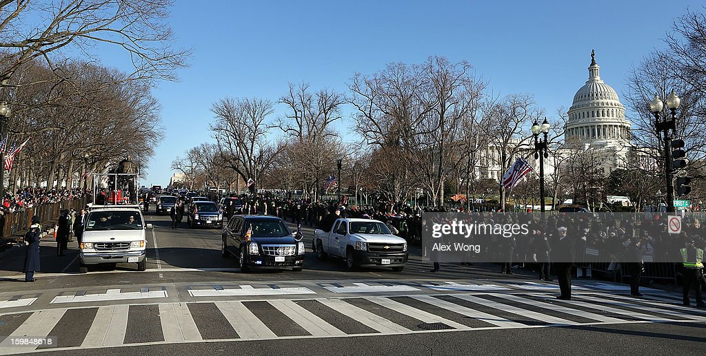 The presidential inaugural parade leaves the U.S. Capitol towards the White House January 21, 2013 in Washington, DC. Barack Obama was re-elected for a second term as President of the United States.