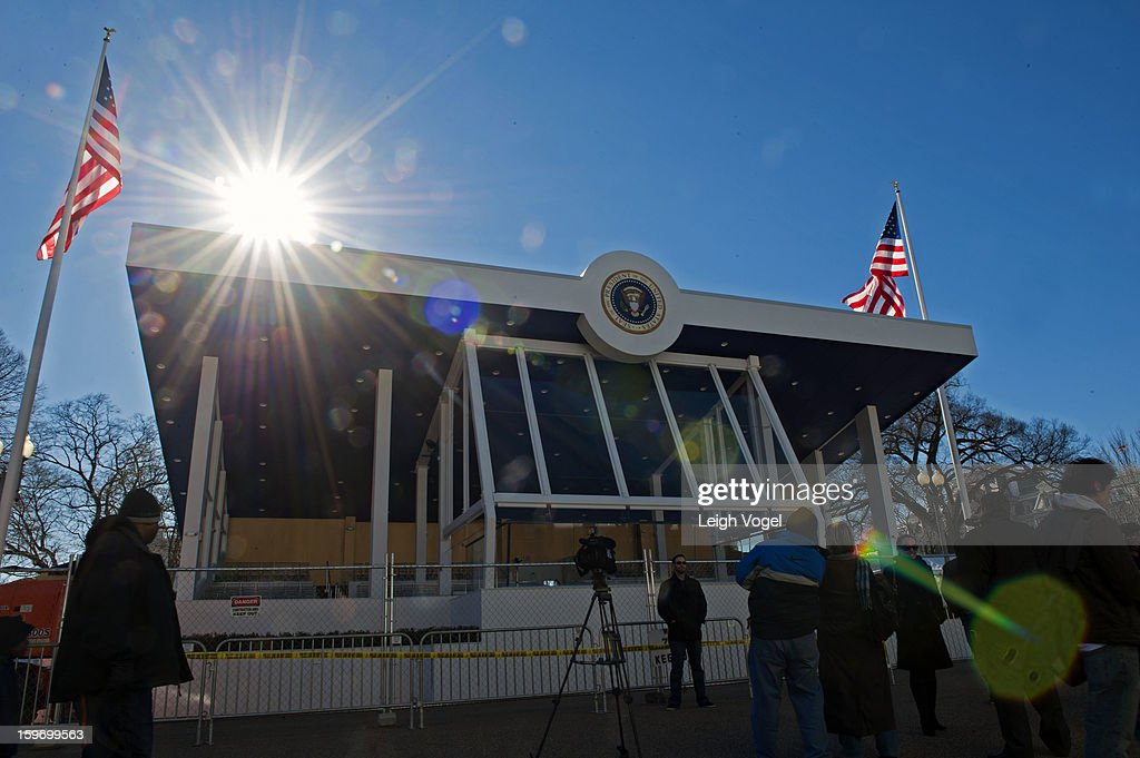 The Presidential Inaugural Reviewing Stand is under construction in front of the White House prior to the 57th United States Presidential Inauguration on January 18, 2013 in Washington, United States.