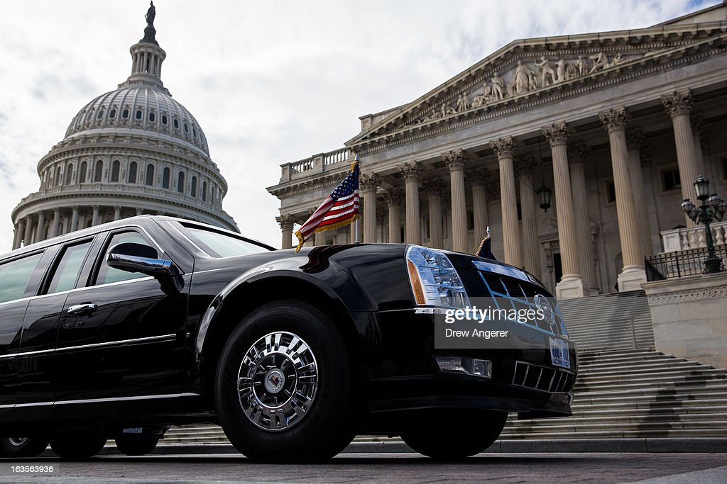 The presidential limousine is parked outside the U.S. Capitol March 12, 2013 in Washington, DC. U.S. President Barack Obama met with the Senate Democratic Caucus today, and is making three trips to Capitol Hill this week to meet with lawmakers.