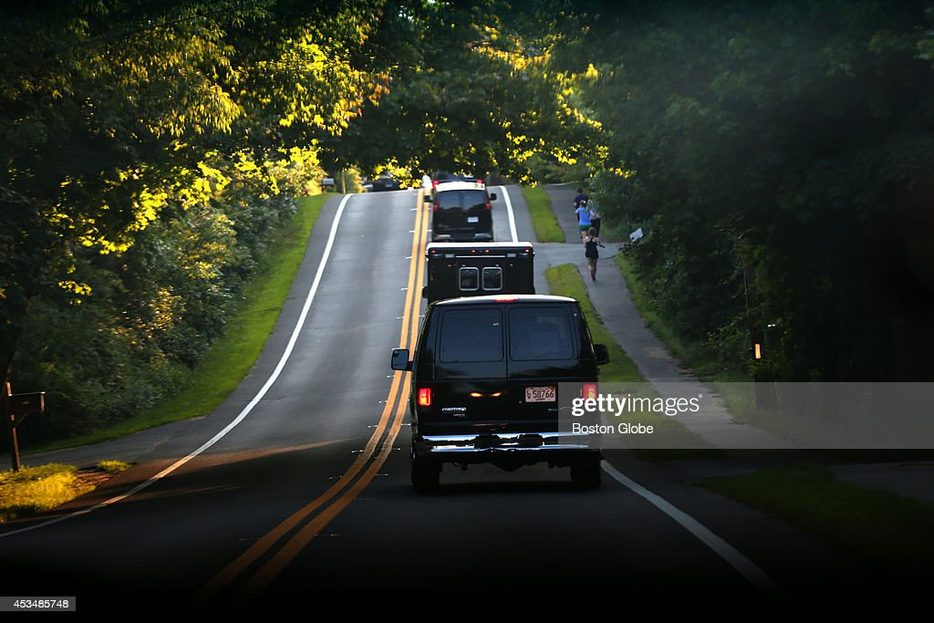 The Presidential motorcade heads back up island to Chilmark with Barack Obama after he played a round of golf at the Farm Neck Golf Club.